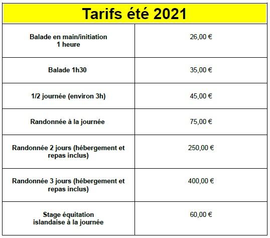tableau des tarifs 2021 mise à jour mai 2021
